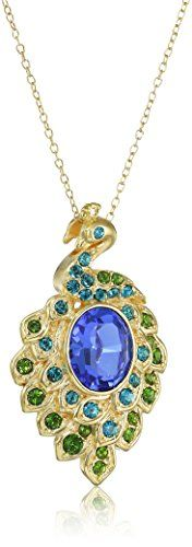 """18k Gold Plated Sterling Silver Swarovski Colored Peacock Pendant Necklace, 18"""" >>> LEARN MORE @ http://www.ilikeboutique.com/boutique/18k-gold-plated-sterling-silver-swarovski-colored-peacock-pendant-necklace-18/?a=0381"""