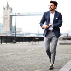 Blazer look for men blazer outfits men, grey pants outfi Chinos And Blazer, Chinos Men Outfit, Blazer Outfits Men, Grey Chinos Men, Blue Blazer Outfit Men, Navy Blazer Men, Grey Trousers, Mens Fashion Blog, Mens Fashion Suits