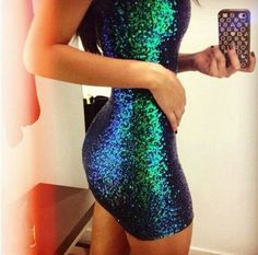 Short sparkly dress mermaid color