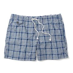 Blue plaid swim trunks