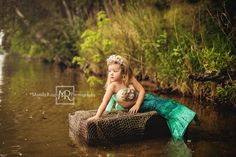 Toddler girl dressed as a mermaid // DIY handmade crown and top, antique trunk, net, starfish, shells, message in a bottle // Lake Ada, Minnesota // by Mandy Ringe Photography - St. Charles, IL Photographer