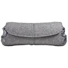Pre-Owned Chic Grey Flannel Vbh Clutch ($640) ❤ liked on Polyvore featuring bags, handbags, clutches, preowned handbags, grey clutches, grey purse, gray handbags and gray purse