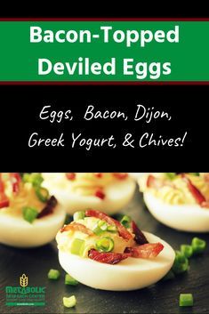 Deviled eggs topped with bacon. Low carb and perfect for weight loss! #deviledeggs #eggs #lowcarb #mrcmeals