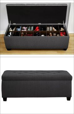 The Sole Secret Shoe Storage Bench - Candice Charcoal More (diy storage house shoe racks) Bench With Shoe Storage, Diy Storage, Shoe Storage Ideas For Small Spaces, Storage Benches, Shoe Bench, Shoe Storage Ideas Bedroom, Wardrobe Storage, Shoe Cubby, Shoe Storage Trunk