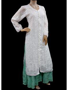 ISHIEQA's White Cotton Chikankari Kurti - MV0103E Cotton Anarkali, Anarkali Kurti, Green Cotton, Black Cotton, Angrakha Style, A Line Kurti, Chikankari Suits, Working Blue, Kamiz