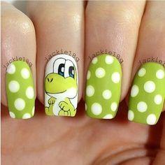 Baby YOSHI nails by 🐢 amaaazinnngggg! Cute Nails, Pretty Nails, Nails For Kids, Nail Polish Art, Disney Nails, Green Nails, Cute Nail Designs, Creative Nails, Gorgeous Nails