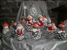 Pine Cone Crafts, Felt Crafts, Christmas Crafts, Christmas Ornaments, Nordic Christmas, Handmade Christmas, Christmas Fun, Pine Cone Decorations, Christmas Decorations