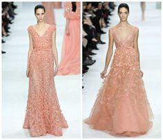 Elie Saab Peach Couture Gowns
