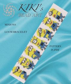 Bead loom pattern Minions LOOM bracelet pattern in PDF Loom Bracelet Patterns, Seed Bead Patterns, Bead Loom Bracelets, Beading Patterns, Embroidery Alphabet, Learn Embroidery, Embroidery Bracelets, Beads And Wire, Loom Beading