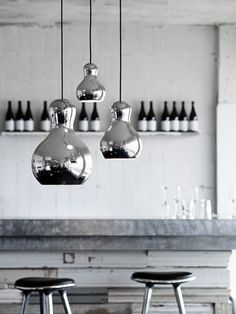 :: LIGHTING :: i don't normally like shiny things, but these definitely change my mind, Copenhagen-based Komplot Design have created the Calabash pendant lamp for Lightyears.