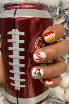 Super Bowl Nail Art Ideas For Chiefs and Fans in 2020 Football Nail Designs, Football Nails, Chiefs Football, Super Bowl, Nails After Acrylics, Nail Selection, Thin Nails, Black Coffin Nails, Red Nail Polish