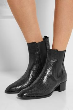#SaintLaurent #Boots  Wyatt croc-effect leather ankle boots $1392