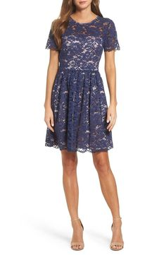 The classic lace frock goes modern with an illusion yoke and crisp pleats for figure-flattering dimension. Modest Dresses, Pretty Dresses, Bridesmaid Dresses, Bridesmaids, Long Chiffon Skirt, Best Leggings, Nordstrom Dresses, Fit Flare Dress, Occasion Dresses