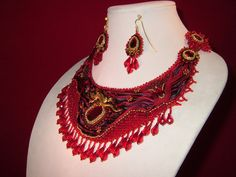 FIRE Shibori collar..bead embroidery necklace and earrings on Etsy, $304.51 AUD