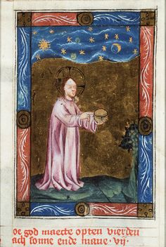 Creation of sun, moon, and stars - Click photo for more images - National Library of the Netherlands Medieval Manuscript, Medieval Art, Illuminated Manuscript, Ancient Astronomy, Biblical Art, Book Of Hours, Old Maps, European History, Bible Stories