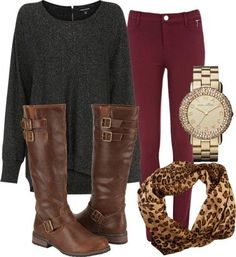 moss cardi w/ wine pants and leopard flats/scarf