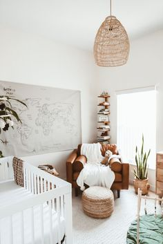 Boho nursery neutral nursery boy nursery explorer nursery kids room home decor Baby Nursery Decor, Baby Decor, Boho Nursery, Travel Nursery, White Nursery, Nursery Room Ideas, Light Green Nursery, Nature Themed Nursery, Map Nursery