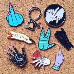 my collection of hand pins! 💅🏼💅🏾💅🏽💅🏿😻 head to instagram.com/robineisenberg for shop links (Little Whip, Hannah Nance, Shop Witchsy, The Hoodwitch, Big Bud Press, and Little Arrow Shop)
