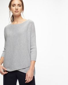 WRAP FRONT BOAT NECK SWEATER