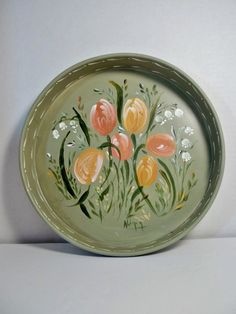 Round Metal Tray Painted Lt Green Hand Painted by FolkArtByNancy