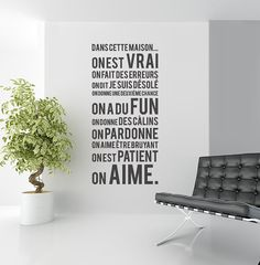 """ Quotes Wall Art Mural Home Decor - French Family Exclusive Decor Deco Stickers, Vinyl Wall Stickers, In This House We, French Quotes, French Sayings, Mural Wall Art, Wall Art Quotes, Decoration, Home Deco"