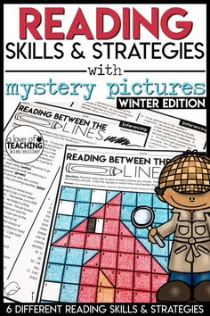 Reading Strategies with Mystery Pictures: Main Idea, Summarize, Theme, Inference, Characters, Setting, Plot, Events, and Context Clues!    The perfect lesson plan for a substitute, too!  Students will love practicing important reading skills and strategies with these winter-themed color-by-code mystery picture grids and practice worksheets!    4.RL.1, 4.RL.2, 4.RL.3, 4.RL.4, and 4.RI.2