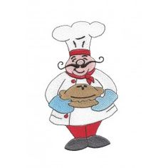 cute french chef with pie oven mittens mustache red pants red scarf filled machine embroidery design