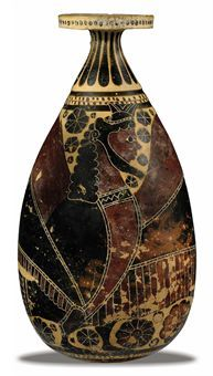 A LARGE EARLY CORINTHIAN POTTERY ALABASTRON                                                                                                                                                                       ATTRIBUTED TO THE LUXUS GROUP, LATE 7TH-EARLY 6TH CENTURY B.C.