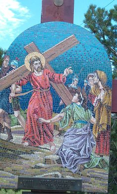 8 Stations of the Cross along the stairs @ Mother Cabrini Shrine Colorado. . Each station is made of stone mosaics made in Italy and depicts the suffering of our divine Lord as He gave His life for our salvation