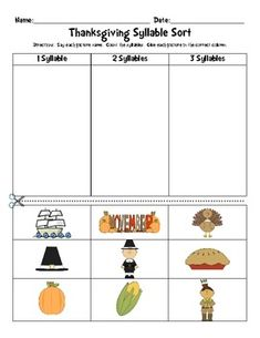 Thanksgiving Words: Syllable Sort