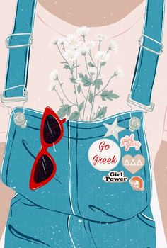 Chi Omega Girl Power Overalls Graphic - My best wallpaper list Pastel Wallpaper, Cute Wallpaper Backgrounds, Aesthetic Iphone Wallpaper, Cute Wallpapers, Aesthetic Wallpapers, Graphic Wallpaper, Girl Wallpaper, Illustration Art, Illustrations