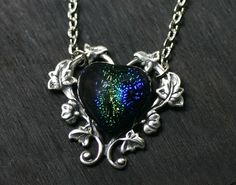 $28.00 Morning Glory Vine, Dichroic Glass, Photo Look, Deep Blue, Heart Shapes, Antique Silver, Pendant Necklace, Sterling Silver, Chain