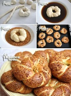 Patisserie Milky Bagel Recipe - Anna Home Bread And Pastries, Bread Shaping, Homemade Dinner Rolls, Greek Cooking, Tasty, Yummy Food, Breakfast Items, Turkish Recipes, Bakery