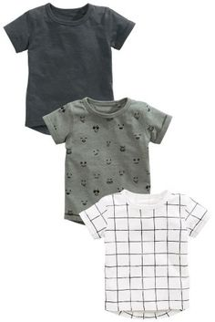 Buy Khaki/White/Charcoal Short Sleeve T-Shirts Three Pack (3mths-6yrs) online today at Next: Israel