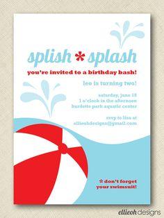 DIY summer pool party invite custom printable by ellieohdesigns, $15.00