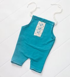 Teal We Meet Again - newborn shortall romper in fun teal knit with cream and grey pocket and buttons (RTS) by SoTweetDesigns on Etsy