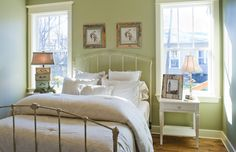 Off white bedding bedroom shabby-chic style with white trim distressed frame