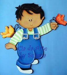 Niño - PLACAS PARA PUERTAS Y CUADERNOS Foam Crafts, Diy And Crafts, Paper Crafts, Baby Scrapbook, Scrapbook Cards, School Murals, Baby Couture, Class Decoration, Preschool Art