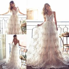 Bohemian Lurelly Backless Wedding Dresses Lace Appliqued Spaghetti Straps Sweep Train Tulle Plus Size Vintage Beach Bridal Gowns Wedding Dresses Brand Wedding Dresses Bride From Yaostore, $177.28| Dhgate.Com