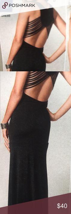 Black Venus dress Black long dress with open back Dresses Maxi
