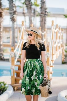 Styling a Palm Printed Skirt for Vacay | bows & sequins