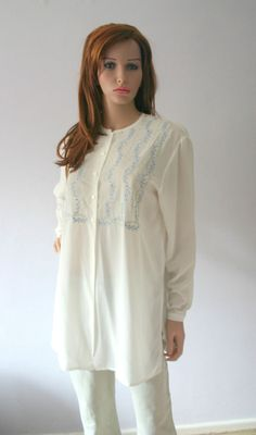 Vintage Blouse UK 12 Long Sheer Off-white Blue Floral Embroidery