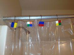 Handmade lego shower curtain rings. First of the Lego bathroom transformation.
