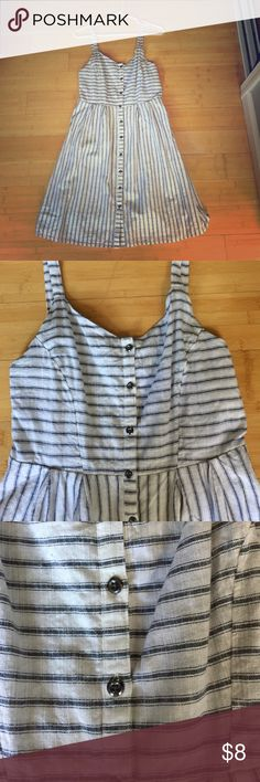 Old Navy Striped Empire Waist Dress White, 💯 cotton. Lined on the inside. Hits above the knee on me and I'm 5 ft 6. Great for summer or fall, looks awesome with tights! Old Navy Dresses