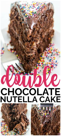 Double Chocolate Nutella Cake Double Chocolate Nutella Cake a rich, moist chocolate cake with Nutella buttercream and ganache, this layered cake just Best Dessert Recipes, Cupcake Recipes, Easy Desserts, Baking Recipes, Delicious Desserts, Cupcake Cakes, Recipes Dinner, Pasta Recipes, Crockpot Recipes