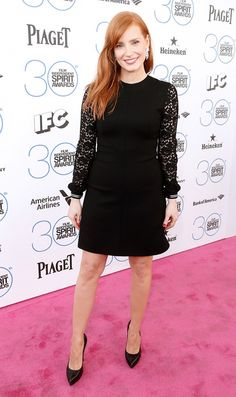 Jessica Chastain in a LBD by Saint Laurent at the 2015 Film Independent Spirit Awards