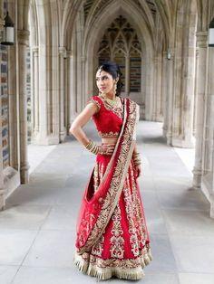 Red and gold lehenga   South Asian bridal lehenga.  Benzer bridal  #indianwedding