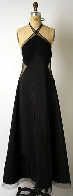 Black evening dress, 1995. Designed by Geoffrey Beene, American. Made of synthetics and wool.
