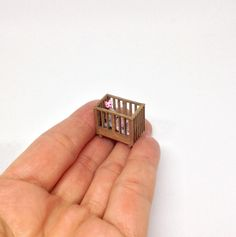 Miniature 1/4 1:48 1/48 48th Quarter Scale Quarter Inch Scale Cot / Crib And Cuddle Toy For Dollhouse Nursery by IckleFingz on Etsy