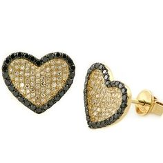 Jewelry Point - 0.82ct Pave-Set Black & White Diamond Heart Earrings 14k Yellow Gold